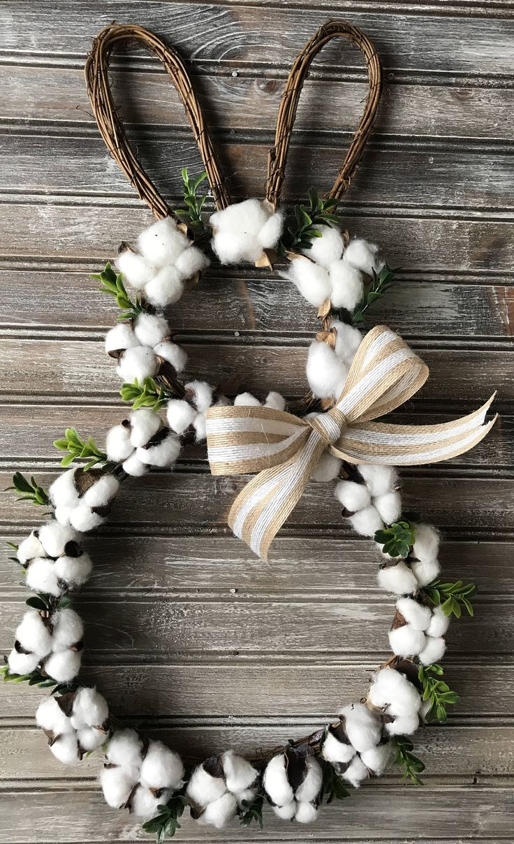 Easter Cotton Boll Wreath,Farmhouse Wreath,Bunny Cotton Wreath,Easter Wreath, Spring Wreath,Easter Bunny Wreath,Cotton Wreath,Boxwood Wreath