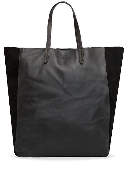 MANGO - TOUCH - Leather and suede shopper bag