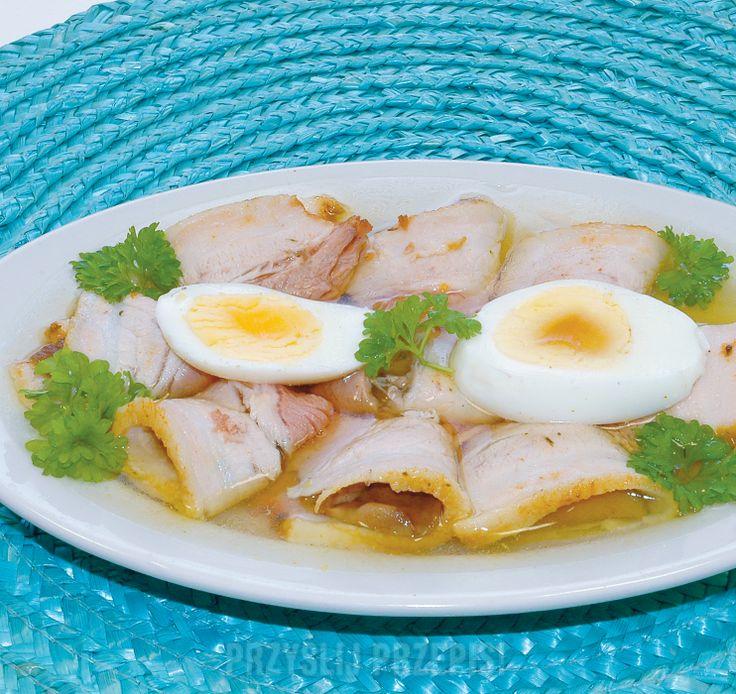 Pieczony boczek z jajkiem w galarecie