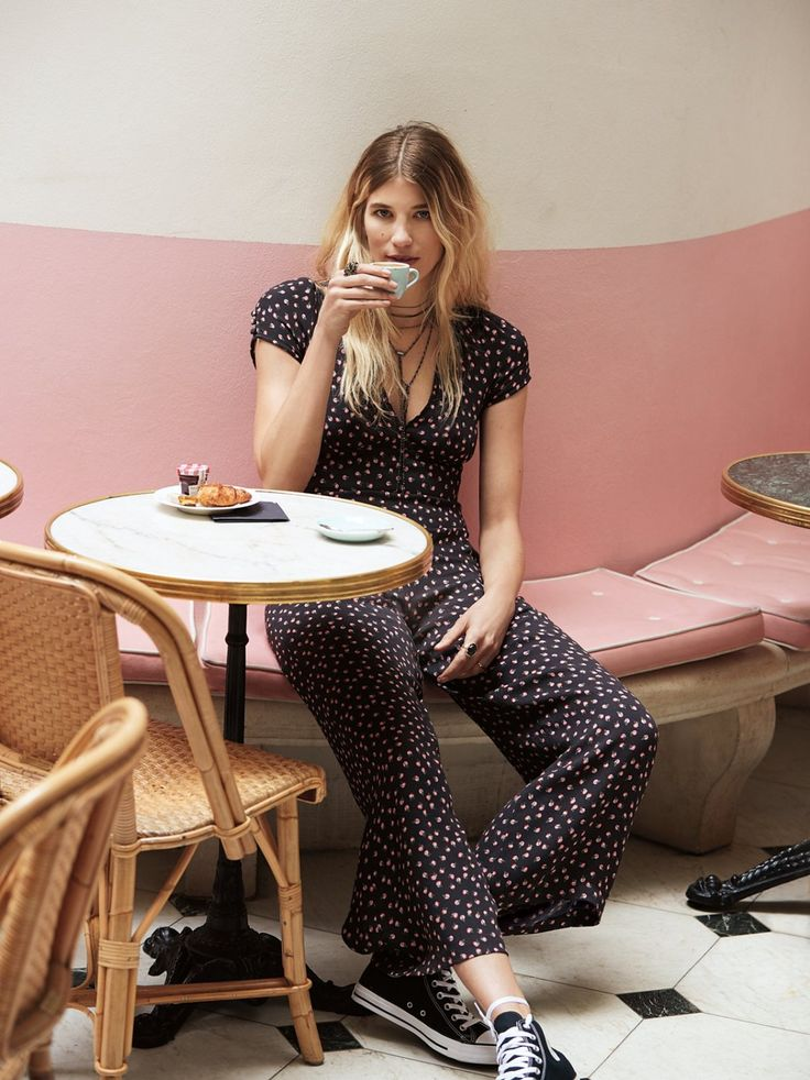 Mia Jumpsuit | Classic and femme, this retro-inspired printed jumpsuit features a soft V-neckline and an easy, flared leg.    * Hidden side zipper closure