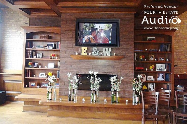 The video screen over the fireplace was one of several that played the happy couple's festive picture montage. http://www.discjockey.org/real-chicago-wedding-august-14-2016/