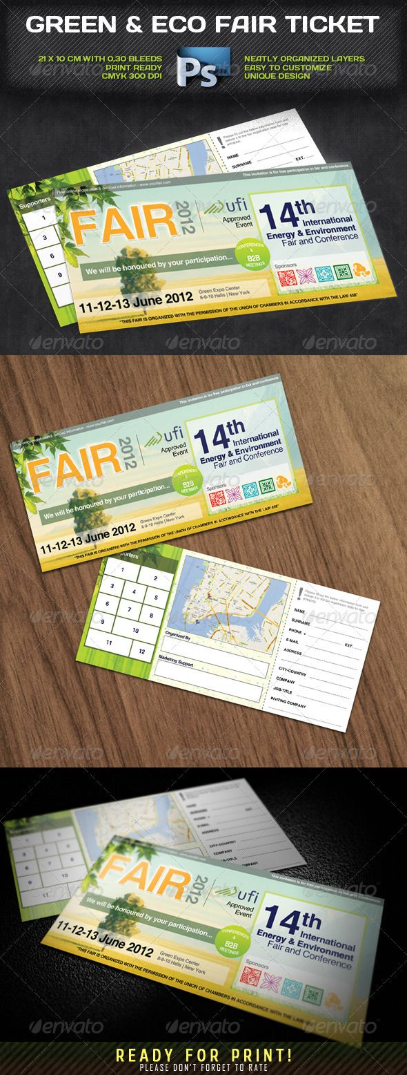 Green & Eco Fair Ticket Template for any kind of fairs, organizations, anniversaries, openings and etc..  This ticket template is