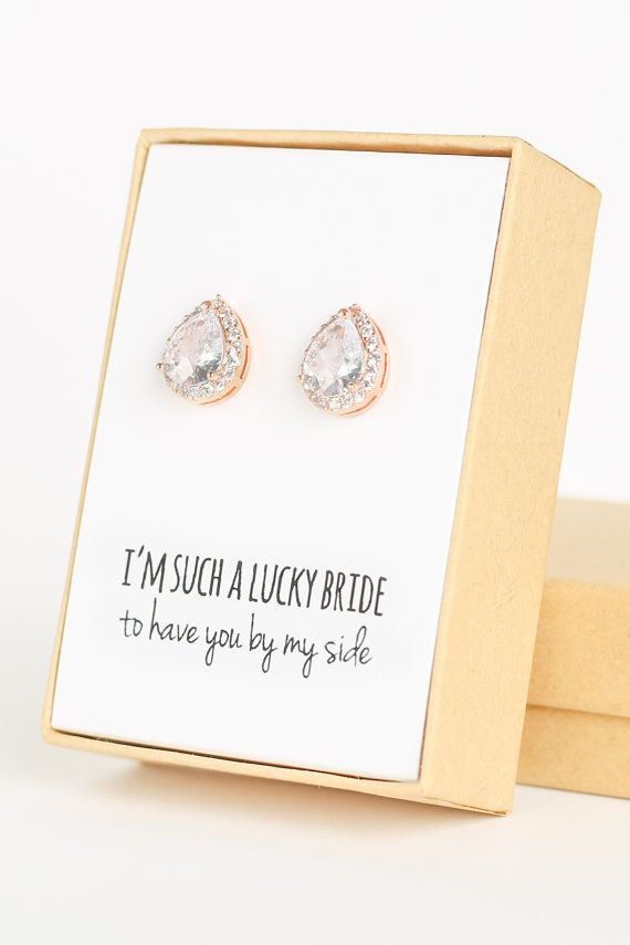 Cubic Zirconia / Rose Gold Teardrop Stud Earrings - Crystal and Rose Gold - Rose Gold Bridesmaid Earrings Wedding Jewelry -Bridal
