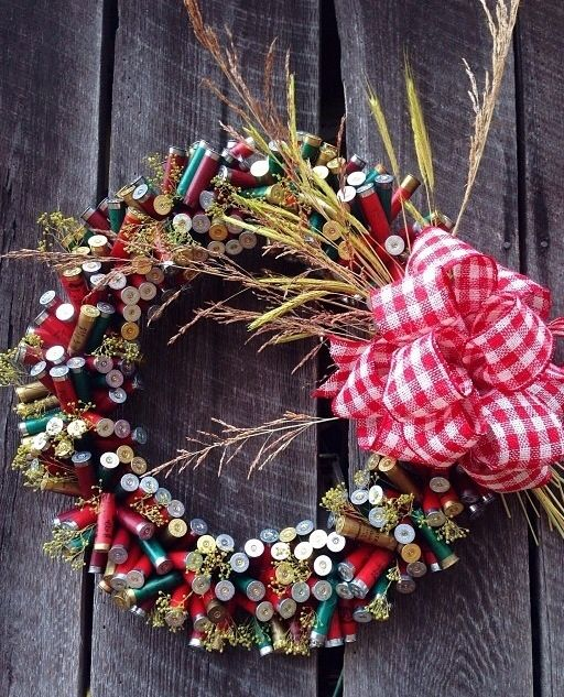 Shotgun shell wreath I made with shells I've collected.