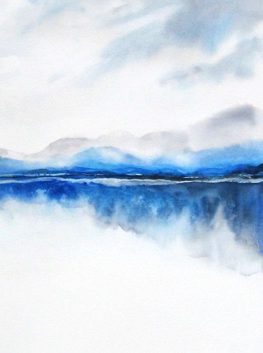 Landscape Painting, Watercolor Painting Print, Nature Print,Modern Landscape Print,Mountain Art,Blue Wall Decor,Lake, Grey Masculine Art,Zen