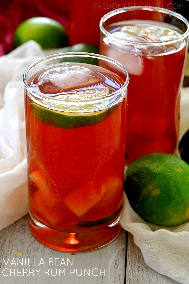 Vanilla Bean Cherry Rum Punch - Easy, fruity, sweet and FABULOUS! It'll instantly transport you to the sunny Caribbean where it was inspired by!