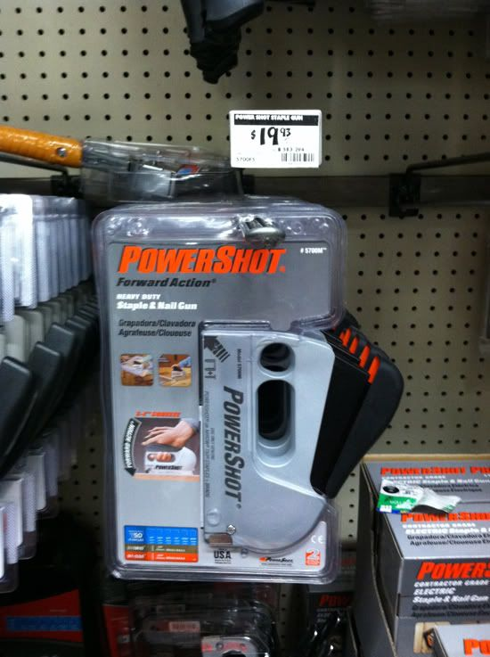 Little Green Notebook: The Best Staple Guns for Upholstery - buy the PowerShot Heavy Duty staple and nairl gun  about $20.