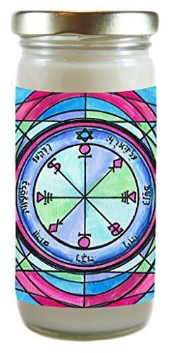Solomons Seal 6th Pentacle of the Moon for Causing Rain 8 Ounce Scented Soy Meditation Prayer Candle
