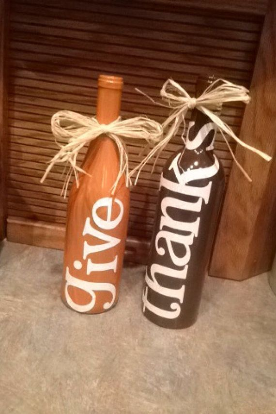 Give Thanks wine bottles by TheLoveBug2 on Etsy
