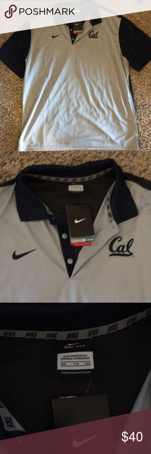 Men's Cal polo I am selling a men's Cal university polo shirt. New with tags on it. Light blue shirt with dark blue sleeves. Size XXL Nike Shirts Polos