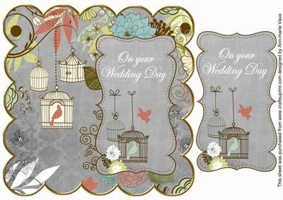 Silver Birdcage Wedding Day 8in Scallop Topper on Craftsuprint - Add To Basket!