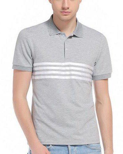 Color block striped polo shirt for men short sleeve