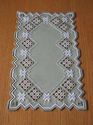 Hardanger Embroidered Runner Doily | eBay