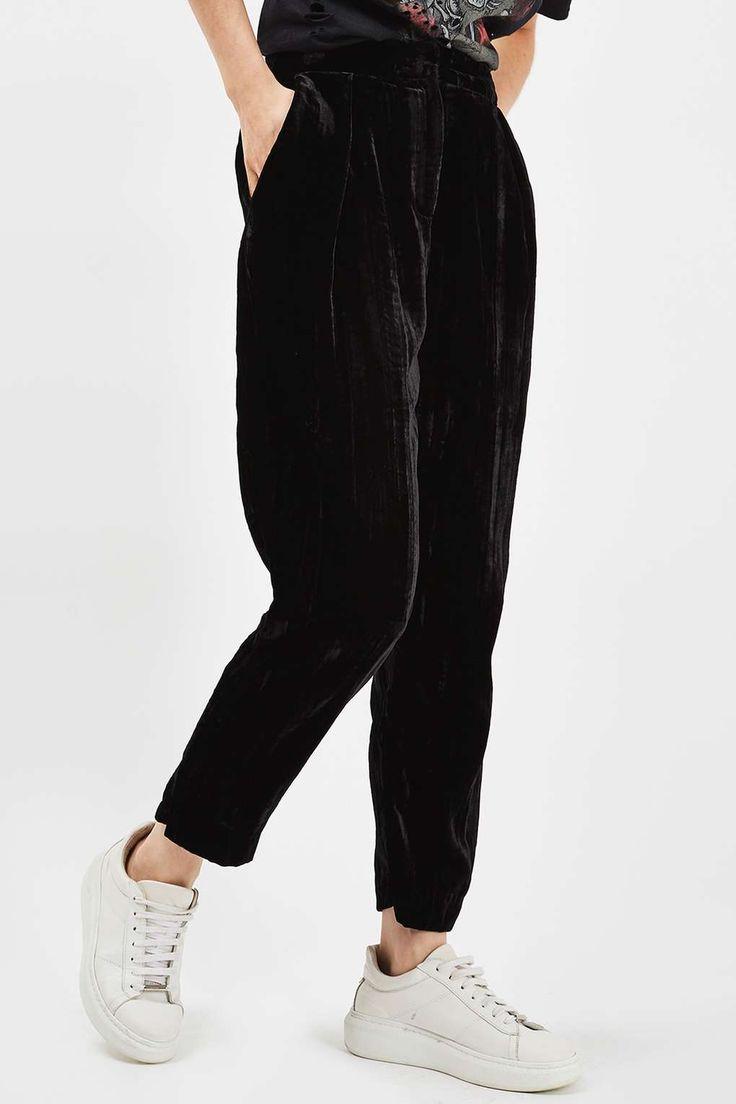Pleat Velvet Peg Trousers - Pants & Leggings - Clothing - Topshop USA