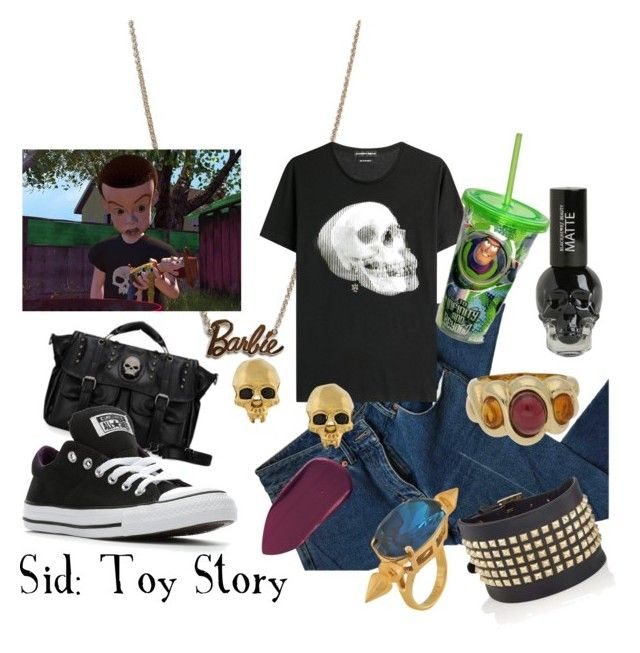 """Sid"" by sugarsop on Polyvore featuring Missguided, 3.1 Phillip Lim, Alexander McQueen, Disney, Kasun, Mawi, Valentino, Bobbi Brown Cosmetics, Hot Topic and Converse"