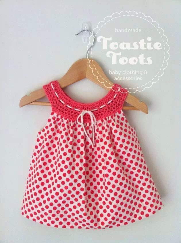"Crochet dress,100% cotton fabric by Toastie Toots [   ""Crochet yoke girl"
