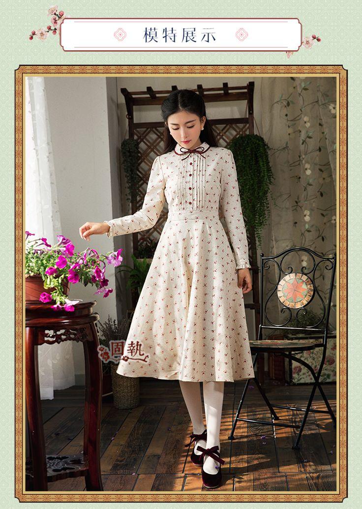 Шифоновые платья - Упрямый 2016 старинные женщин осень зима новый литературный тонкий подходят кружева цветочный платье, Макси платье