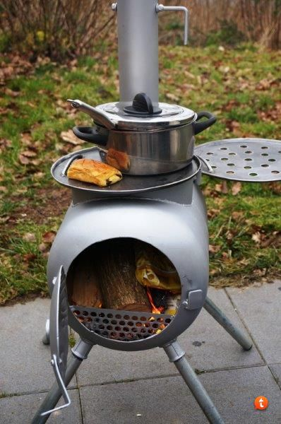 Second version of gas bottle wood stove soba firin for Wood burning rocket stove