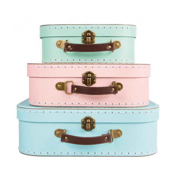 Sass Belle Set of 3 Pastel Retro Suitcases ($26) ❤ liked on Polyvore featuring bags, luggage, accessories, fillers and backgrounds