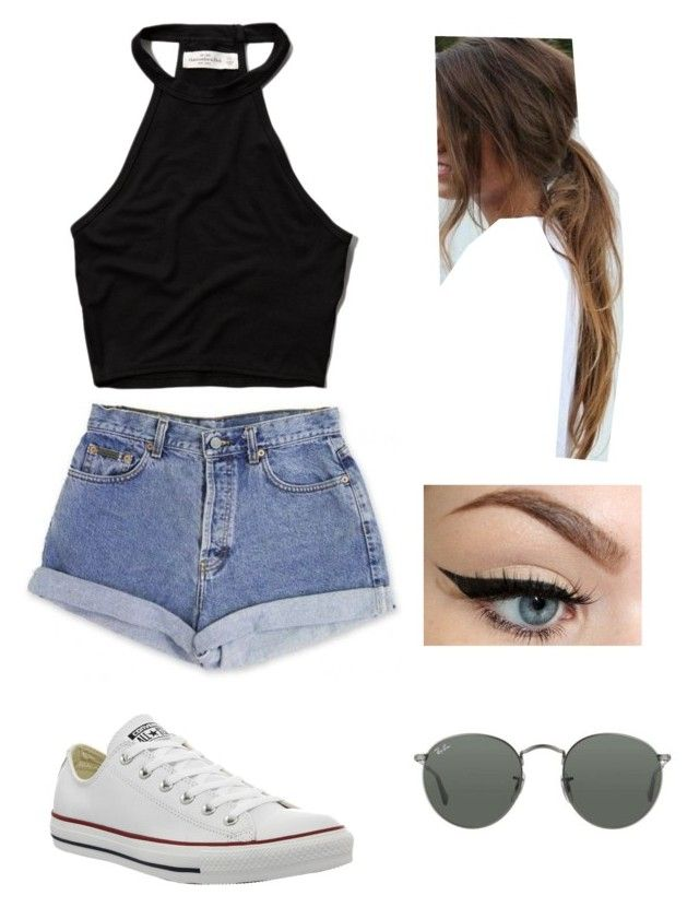 IDK I REALLY LIKE CROP TOPS AND HIGH WAISTED SHORTS by oned-polyvore ❤ liked on Polyvore featuring Calvin Klein, Abercrombie Fitch, Converse and Ray-Ban