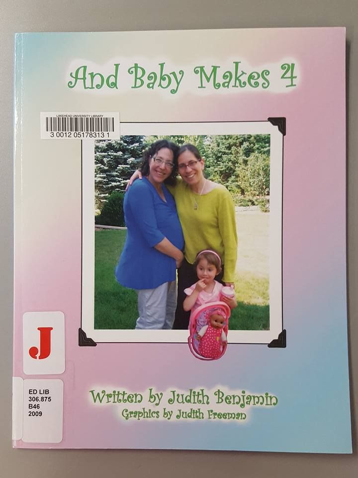 And Baby Makes Four - written by Judith Benjamin, graphics by Judith Freeman. One of her moms is pregnant! What will this mean for a child who will soon be an older sibling? Her mothers prepare her for the big change in their family, and finally the baby arrives. The girl feels confused and ambivalent, but she grows at last toward happy acceptance of the baby and of her new status in the family.
