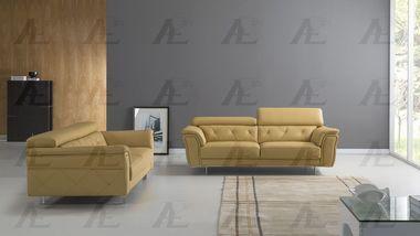 2 pcs Adjustable Headrest Yellow Italian Leather Sofa Set with Sofa Loveseat