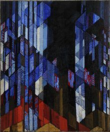 A piece by František Kupka (Cathedral), an artist said to be of major influence on the Orphism movement.  During 1910, influenced by Isaac Newton, he created his own colour wheels in an attempt to remove all description and create new meaning from colour.