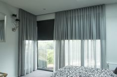 white curtain over black roller blind - Google Search