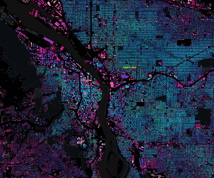 Portland, Oregon: The Age of a City / building age map of Portland / via enf