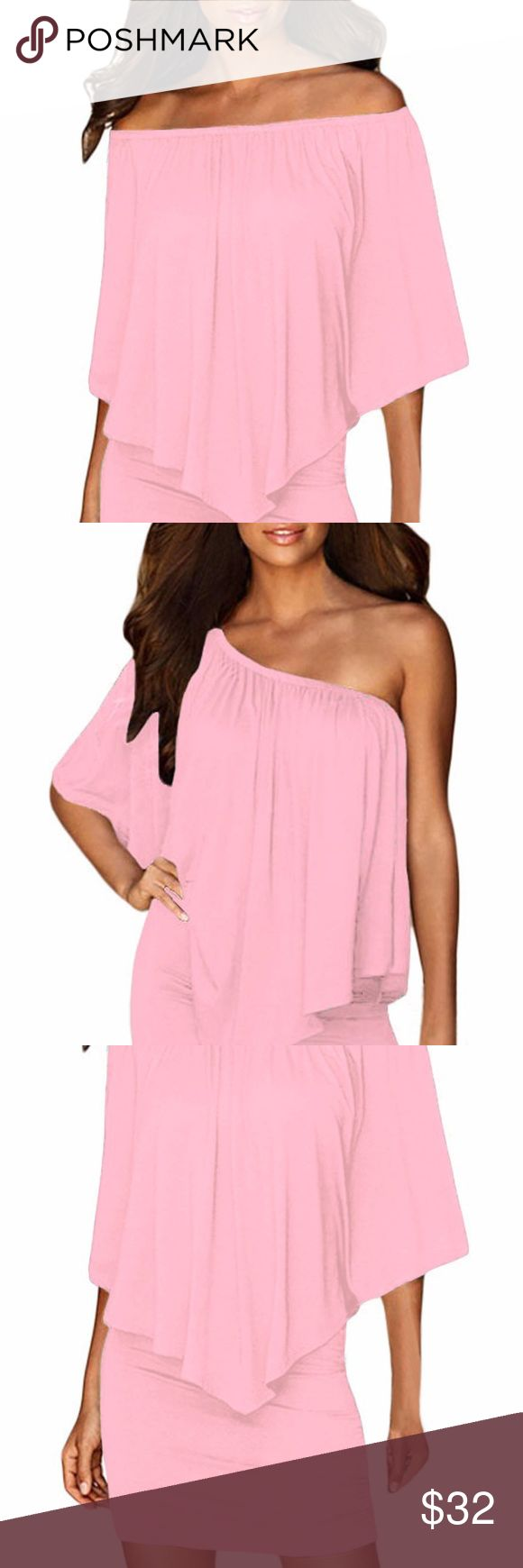 Multiple Dressing Layered Pink Mini Dress This Multiple Layered Mini Dress can be worn at the office or for a night out at a bar right after! The cute ruffle-layer top gives an  elegant, cute feel to the comfortable and over sized dress. The short length accentuates your curves with body-hugging silhouette, you are  sure to feel confident, sexy and elegant no matter the occasion.  22820-10 Dresses Mini