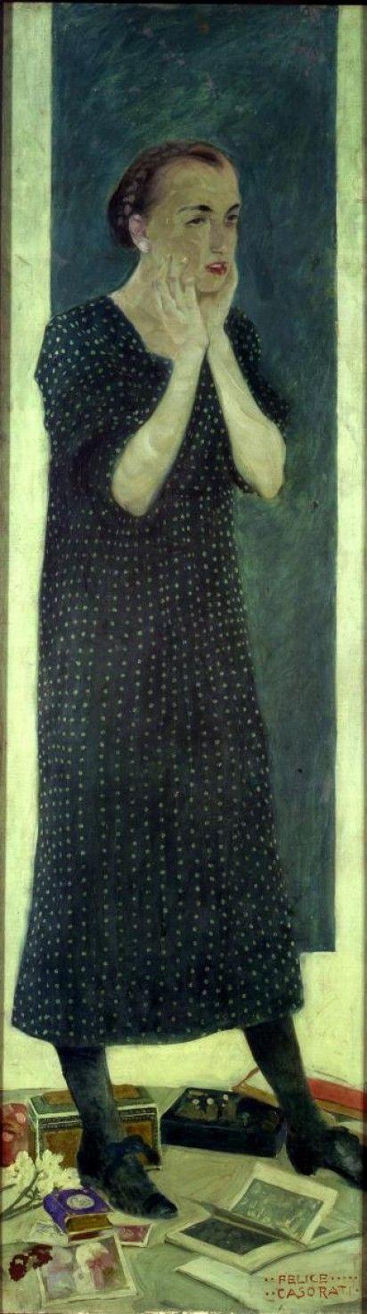 """Felice Casorati, Giovane donna (Bozzetto per """"Le signorine"""") (Dolores)"""