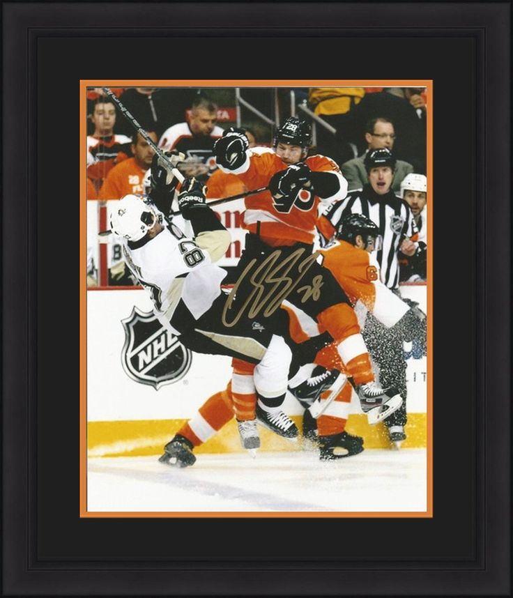 "Philadelphia Flyers Claude Giroux Hits Sidney Crosby 2012 NHL Hockey Playoffs Autographed 11"" x 14"" Framed and Matted Photo"