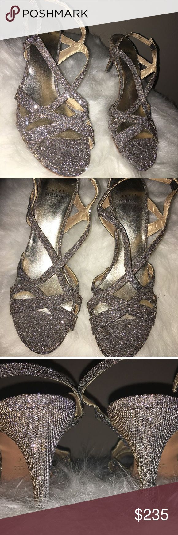 Stuart Weitzman metallic high heel sandals Silver/charcoal glittery metallic high heel sandal. Never been worn Stuart Weitzman Shoes Heels