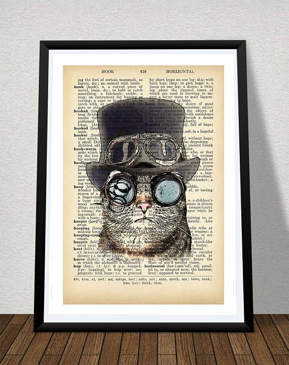 Steampunk Cat Poster Print Dictionary Print Printable Poster