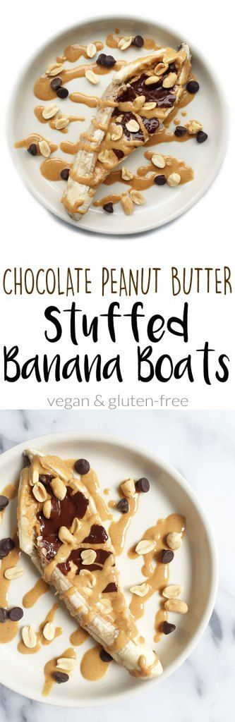 Chocolate Peanut Butter STUFFED Baked Banana Boats. A delicious way to enjoy bananas in the oven for an easy breakfast or healthy snack!