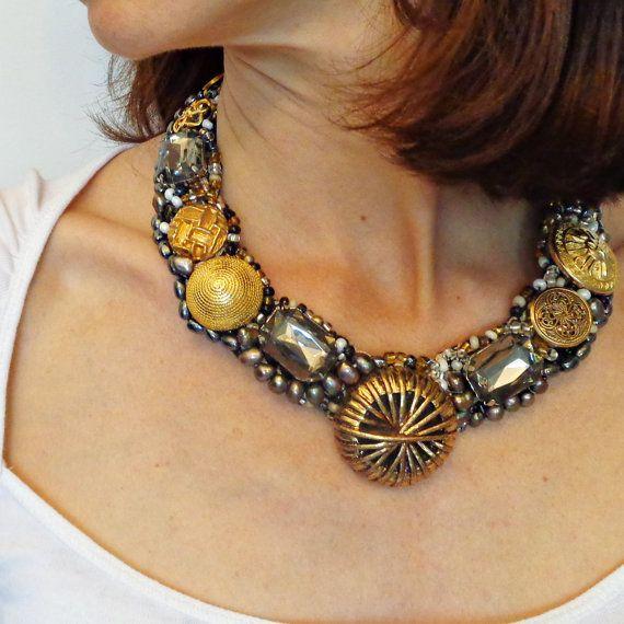Vintage buttons necklace, cabouchon necklace, crochet necklace, sparkling crystals necklace