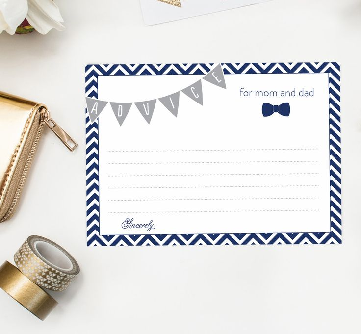 Little Man Baby Shower Game, Baby Shower Advice Card, Mom Dad Mommy Bow Tie PRINTABLE, Boy Baby Shower, Chevron, Grey and Navy bowties by DearHenryDesign on Etsy https://www.etsy.com/ca/listing/248233599/little-man-baby-shower-game-baby-shower