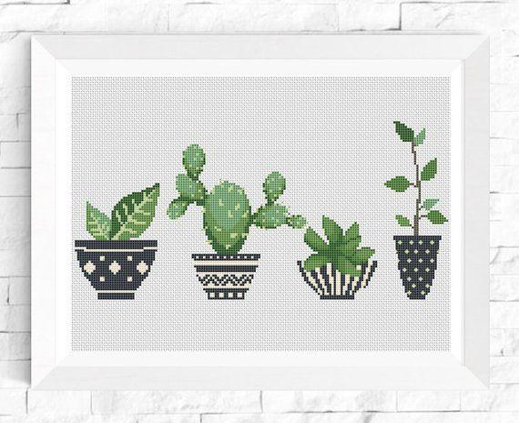 Cactus cross stitch Succulent pattern cross stitch Geometric Pots Modern cross stitch Chart Funny cr – Kate Childress