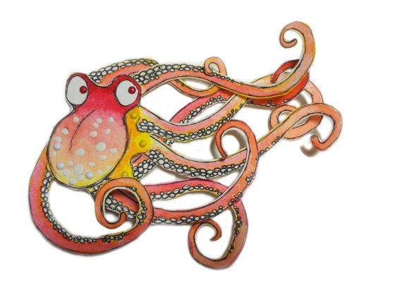 Octopus Animal Paper Doll Kraken Puppet Pattern, Articulated Mechanical Animals, Printable Animal Digital Downloadable 0082
