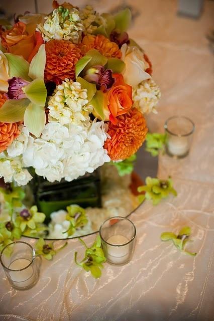 centerpiece~: Brandy Rose, Cherries Brandy, Mercury Glass, Calla Lilies, Dahlias, Orange Rose, Centerpieces, Summer Weddings, White Hydrangeas