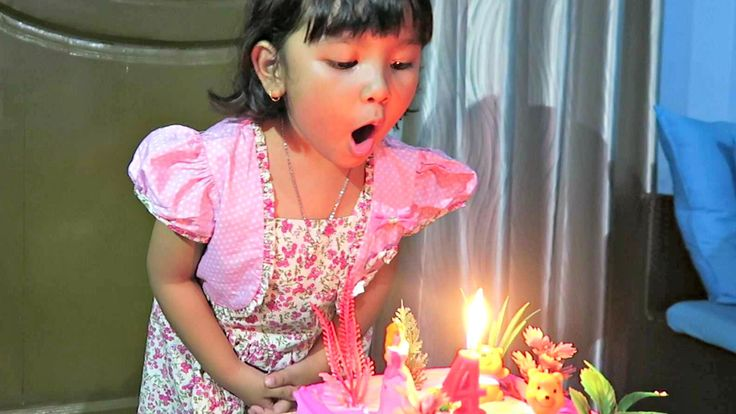 Happy Birthday Kania - Cute Girl Blowing Out the Candle
