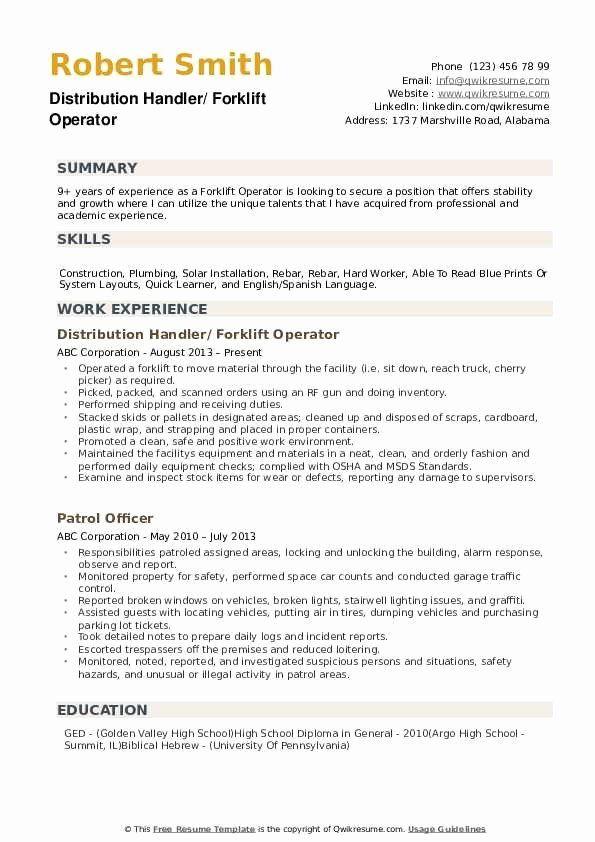 forklift driver sample resume for forklift operator  best