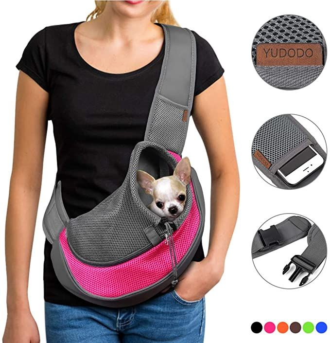 Amazon Com Yudodo Pet Dog Sling Carrier Breathable Mesh Travel Safe Sling Bag Carrier For Dogs Cats S Up To 5lbs Pink Pet Supplies In 2020