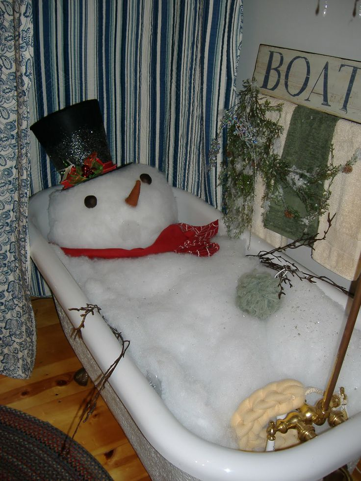 "OK... Just Imagine Your Guests Walking Into Your Bathroom At Your Next Christmas Party...Lay Pillows Or Something Down In The Tub, Then With BattingForm Your ""Snowman & Bubbles""...Add A Loofa, Top Hat, Scarf, Carrot Nose(Made From Felt) & Coal Eyes(Rocks Painted Black) & Twigs For Arms...I Love It..."