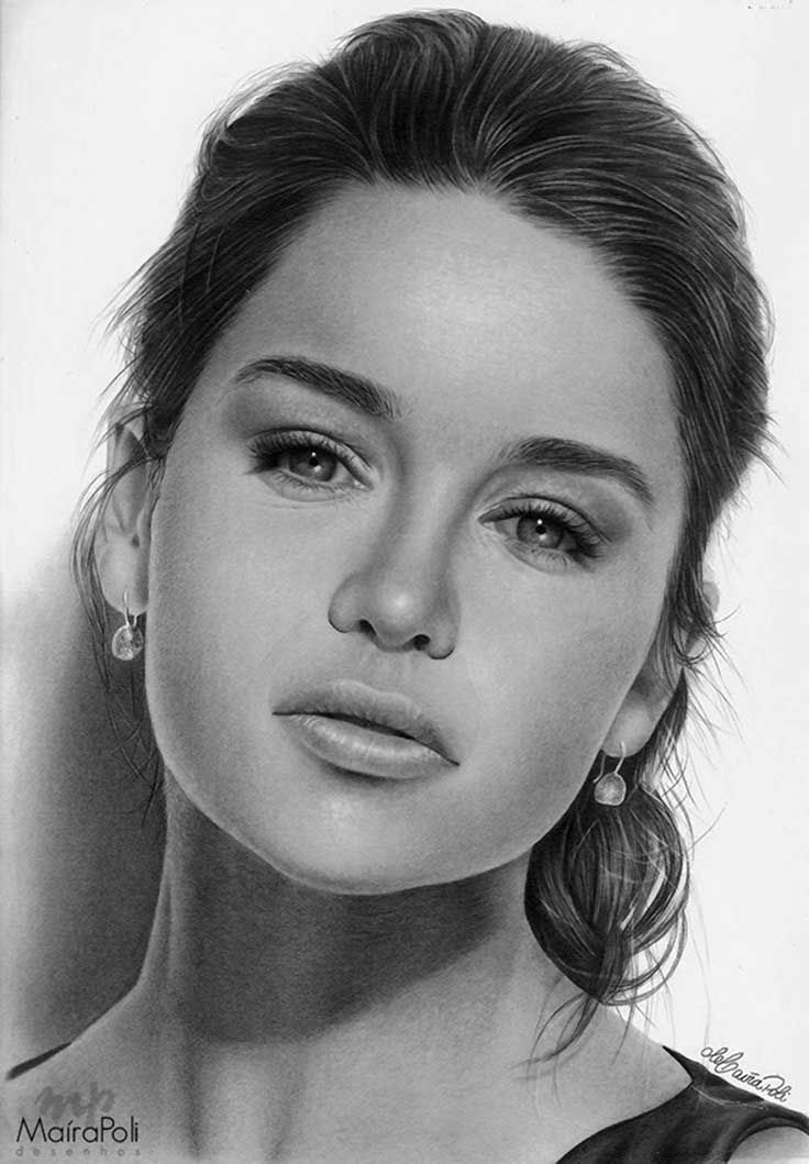 """Emilia Clarke"" - Maíra Poli, graphite, 2014 {figurative realism art beautiful female head celebrity actress woman face portrait drawing #loveart}  mahbopoli.deviantart.com"