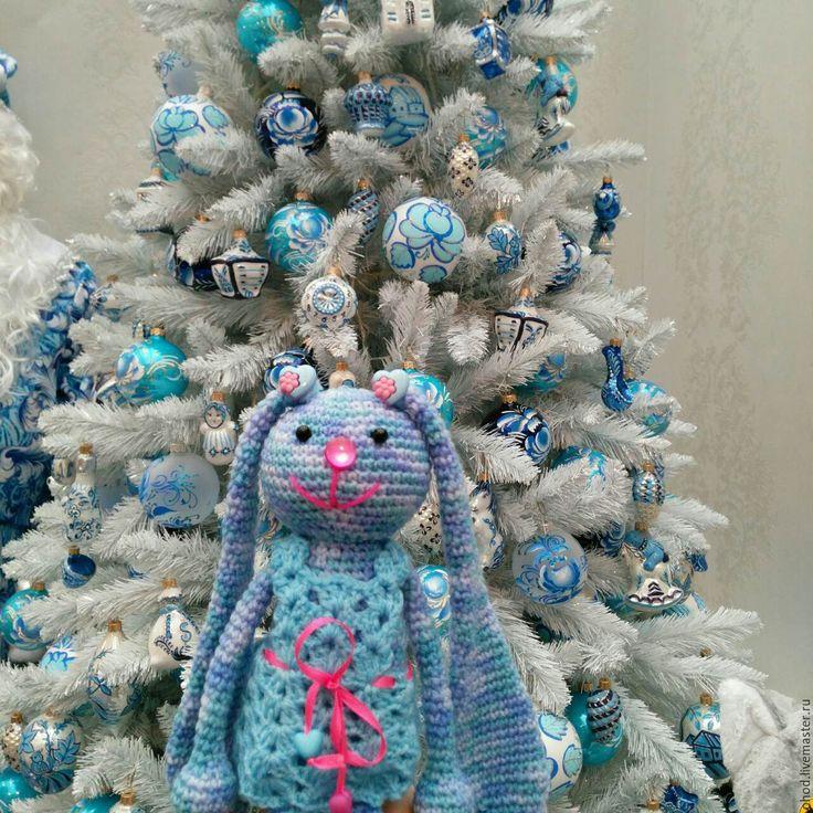 Купить Зайка. Синяя в платье - зайка, заяц, зайчик, игрушка в кроватку, игрушка в одежде