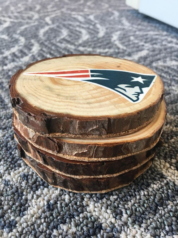 Patriots Coasters, New England Patriots Coasters, NFL Coasters, Custom Coasters, Wood Slice Coasters, Rustic Coasters, Rustic Home Decor by BeeActive on Etsy https://www.etsy.com/listing/521644701/patriots-coasters-new-england-patriots