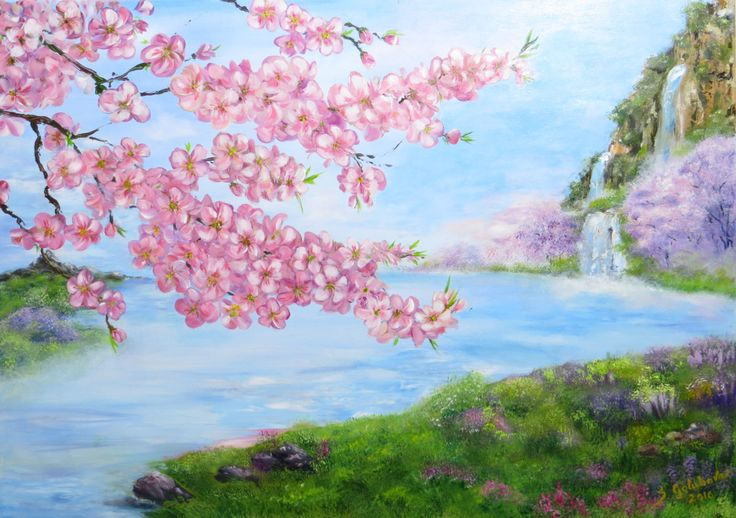 Sakura painting Cherry blossom Asian painting Feng by SGolubovaArt