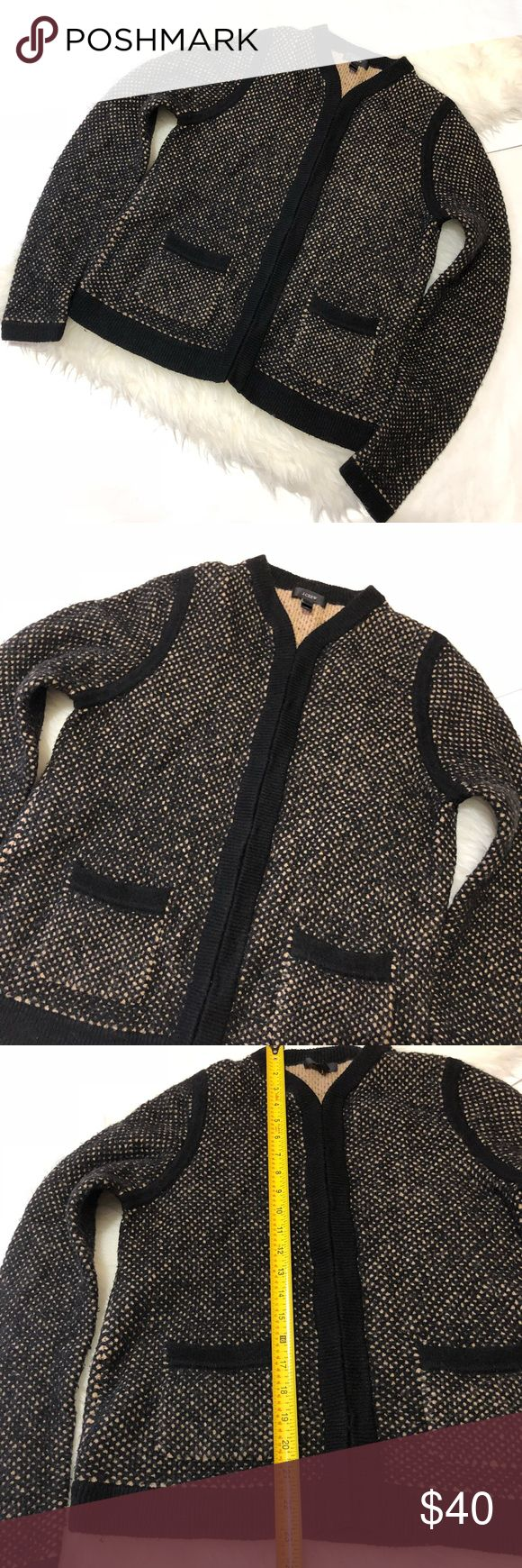 "J. Crew• Honey comb wool knit sweater Size M. J.Crew Women's Honeycomb Wool Sweater Jacket. Size M. Black/Camel Honeycomb Latrice Pattern. • Self: 33% Polyamide, 25% Acrylic, 25% Wool, 16% Viscose, 1% Spandex. • Long sleeve with hook and eye front closures. • On-seam patch pocket. • Style #13757. Sweater has a ""fuzzy"" look, not a defect. Overall, in great pre-owned condition with minimal wear and tear. J. Crew Sweaters"