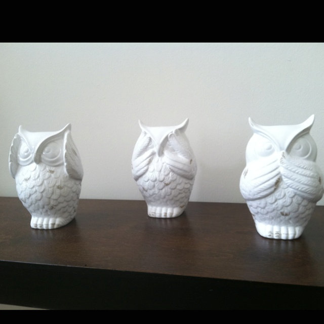 16 best images about hear speak see on pinterest garden ornaments i want and kanzashi flowers - Hear no evil owls ceramic ...
